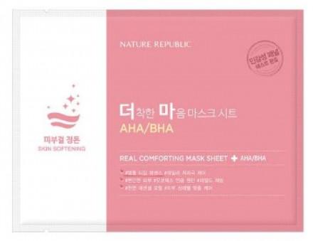 Маска тканевая для чувствительной кожи NATURE REPUBLIC REAL COMFORTING MASK SHEET [AHA/BHA] 24гр: фото