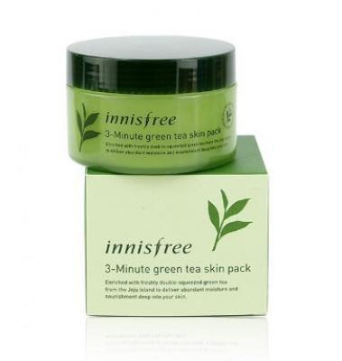 Маска интенсивная трех-минутная с зеленым чаем Innisfree 3-Minute Green Tea skin Pack 70мл, 100дисков: фото