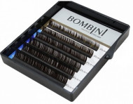 Ресницы Bombini Truffle Темно-коричневые, 6 линий, изгиб D+ mini-MIX (8-13) 0.07: фото